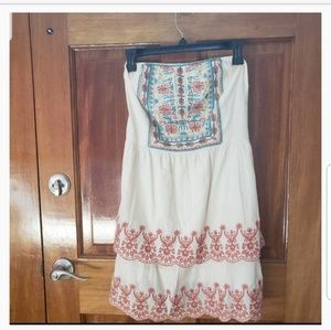 Flying Tomato strapless embroidered dress